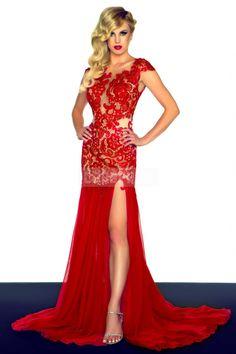 Column High Neck Natural Waist Chiffon,lace Evening Dress