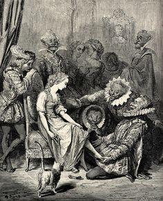 Cendrillon - Approchant la pantoufle de son petit pied, il vit qu'elle y entrait sans peine & qu'elle lui était juste comme de cire