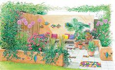 Die Terrasse ist der beste Ort, um einen Sommerabend mit Freunden zu genießen. Mit der der richtigen Bepflanzung, einem gemütlichen Sitzplatz und einem schönen Bodenbelag zaubern Sie aus einer kahlen Fläche eine wahre Ruheoase. (Pflanzplan als PDF zum Herunterladen und Ausdrucken)