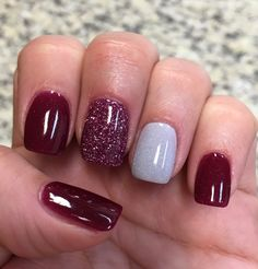 Cranberry Glitter & Silver NexGen nails