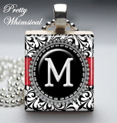 Personalized Jewelry  Black White Damask M by prettywhimsical, $7.95