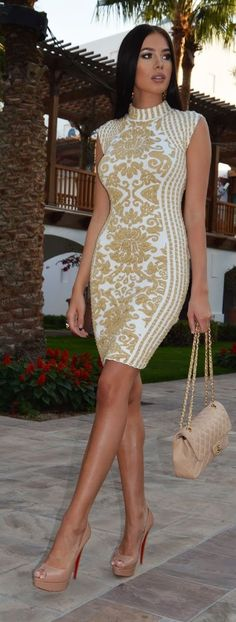 Gold Embroidery On White Inspiration Dress