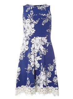 Blue Floral Print Lace Trim Dress