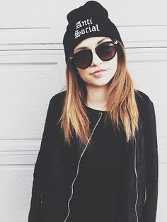 All black outfit Beanie for girls beanie with words how to wear a beanie beanie fashion black beanie cool alternative hipster