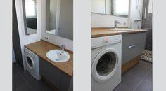 meuble salle de baine sur mesure et lave linge
