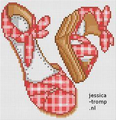 Shoes pattern / chart for cross stitch, crochet, knitting, knotting, beading… Diy Embroidery, Cross Stitch Embroidery, Embroidery Patterns, Beading Patterns, Counted Cross Stitch Patterns, Cross Stitch Charts, Cross Stitch Designs, Cross Stitch Pictures, Knitting Charts