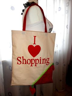I Love Shopping Eco Strawberry Collapsible Bag or Tote by Happybee