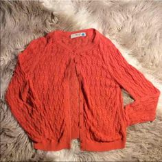 """ANTHROPOLOGIE """"Sparrow"""" Crochet Cardigan Orange Crochet Large  There is a button missing but the extra one is available and I will sow it on before shipping. Unless you want to in which case I will knock off $5 :) let me know!  Thank you for looking and please check out the rest of my closet. Anthropologie Sweaters Cardigans"""