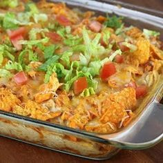 Chicken Doritos  3 c cooked chicken  1 c sour cream 1can corn 1 can black beans drained 1/4 c onion 1can green chilies 2 c cheddar cheese 1 can cream of chicken soup 1/2 tsp salt pepper garlic powder 1 pk nacho cheese Doritos  spray 9x13 Crush Doritos Line pan with 1/2 sack of crushed Doritos Mix all other ingredients in a mixing bowl(reserve 1 cup of cheese) Put mixture on top of Doritos Add the other cup of cheese on top then the rest of the crushed Doritos on top 350 30-45 min