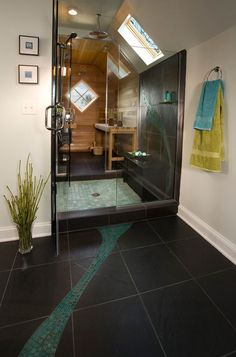 Love the septh look here for shower and sauna. Not the dark colors though 17 Sauna And Steam Shower Designs To Improve Your Home And Health Bathroom Spa, Modern Bathroom, Master Bathroom, Bathroom Ideas, Steam Showers Bathroom, Bathroom Designs, Sauna Steam Room, Sauna Room, Home Steam Room