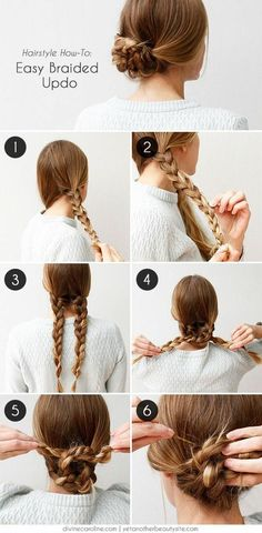 Unique braided updo for medium / long hair tutorial Unique. - Unique braided updo for medium / long hair tutorial Unique braided updo for m - Easy To Do Hairstyles, Braided Hairstyles Tutorials, Up Hairstyles, Pretty Hairstyles, Braid Tutorials, Hairstyle Ideas, Step Hairstyle, Popular Hairstyles, Hairstyles Pictures