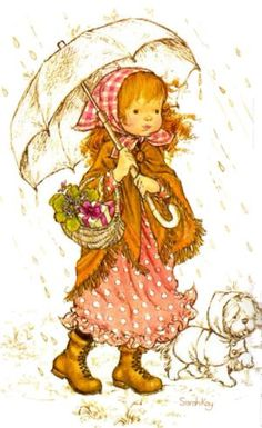 Sientje-and-Co: Sarah Kay, Holly Hobbie y Petticoat señorita Sarah Key, Holly Hobbie, Sarah Kay Imagenes, Mary May, Walking In The Rain, Creative Pictures, Australian Artists, Illustrations, Cute Illustration