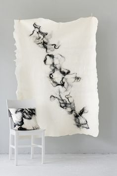 Japan, home collection pure by The Soft World. Black alpaca on white Merino wool. Japan, home collection pure by The Soft World. Black alpaca on white Merino wool. Felt Cushion, Felt Pillow, Textile Design, Textile Art, Felt Pictures, Textiles, Felt Fabric, Nuno Felting, Handmade Felt