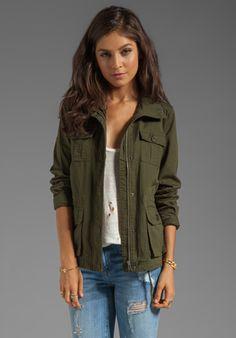Jack by BB Dakota Leslie Cotton Twill Army Jacket in Army Green