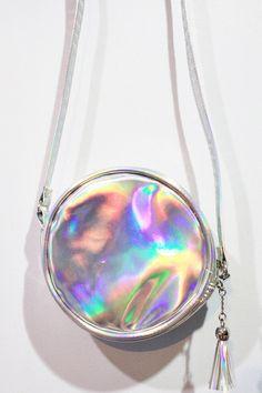 Holographic Round Bag Hologram Cross Body Purse Silver Pouch Messenger Handbag Shoulder Party Travel Shoulder Bag