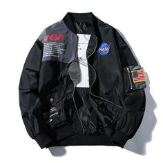NASA Bomber Jacket - Nasa Windbreaker Streetwear Clothing Hypebeast Jacket - Mugen & Soul Inc Nasa Bomber Jacket, Black Bomber Jacket, Gray Jacket, Bomber Jacket With Patches, Camouflage Jacket, Nasa Clothes, Lightweight Jacket, Kind Mode, Look Cool