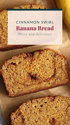 We love this cinnamon swirl banana bread for breakfast or a tasty snack! Healthy Dessert Recipes, Yummy Snacks, Snack Recipes, Desserts, Healthy Cookies, Muffin Recipes, Healthy Snacks, Zucchini Chocolate Chip Muffins, Cinnamon Banana Bread