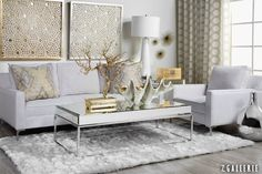 Love this room with mixed gold and silver metals grounded by white.