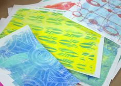 Gelli Scrap Folio - We started the day printing in our favorite Dina Wakely and Liquitex Basics color palettes, using my ever-growing collection of stencils, masks and stamps to create yummy texture and layers…