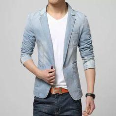 blazer jeans elegance man - slim - masculino - casual