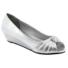 a28cedbfbb Silver Low Heel Shoes | ... Dyeables Anette Silver Low Heel Wedge Peep Toe