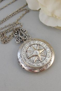 Silver Compass,Silver Locket,Locket, Antique Locket,Compass,,Victorian Locket,Pearl. Handmade jewelry by valleygirldesigns.