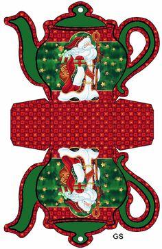 Favor Box Christmas Teapot Christmas Crafts To Make, Christmas Art, Christmas Projects, Christmas Decorations, Xmas, Christmas Ornaments, Christmas Templates, Christmas Printables, Printable Box