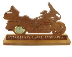Honda Goldwing Motorcycle Desk Or Shelf Clock Handemade From Cherry Wood By KevsKrafts by KevsKrafts on Etsy https://www.etsy.com/listing/256129128/honda-goldwing-motorcycle-desk-or-shelf
