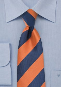Businesskrawatte Streifen breit kupfer-orange nachtblau