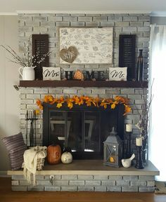 """Fall decor for fireplace, click photo for a step-by-step """"how to"""" whitewash brick fireplace tutorial. Also, how to update brass plating on fireplace."""