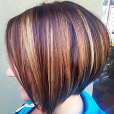 bob haircuts brown lowlights and highlight hair color with side 9431