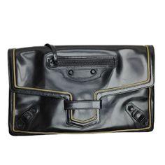 Balenciaga glazed black clutch