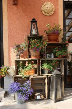 Wooden Crate Shelves With Potted Flowers - Home Dekor Wooden Crate Shelves, Wooden Crates, Wooden Boxes, Pallet Crates, Box Shelves, Wooden Train, Pallet Wood, Wood Pallets, Barn Wood
