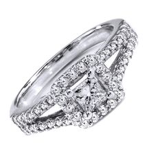 1.5ct. D/VVS1 Engagement Ring Round Cut in Solid 10k White Gold  #SolitairewithAccents