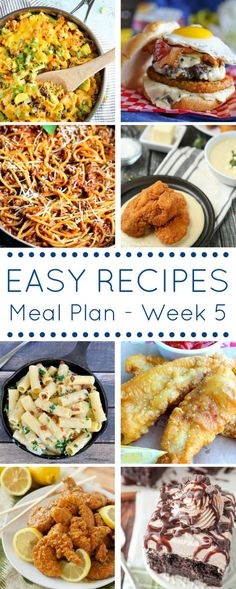 Let this Easy Dinner Recipes Meal Plan make life easier with 8 great recipes planned out ahead of time for easy shopping and delicious dinners (and dessert)!
