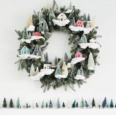 Putz house wreath