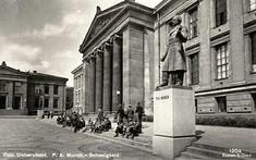 Oslo. Universitetet. Statue av P.A. Munch-Schweigaard Utg  S. Gran postgått 1938