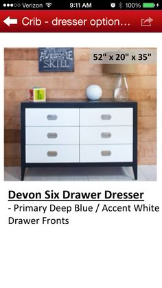The Devon 6 Drawer Dresser is inspired by the clean lines and superior craftsmanship of traditional Shaker-style furniture. This simplicity translates easily to both modern and traditional interiors. This dresser features 6 spacious drawers. 6 Drawer Chest, 6 Drawer Dresser, Dresser As Nightstand, Dressers, Baby Furniture, Painted Furniture, Furniture Ideas, Devon, Shaker Style Furniture