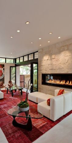 Fire place built into the wall - lounge room