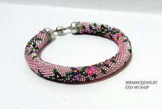 Unique Pink Beaded crochet Bracelet  Bead by SERMINCEJEWELRY