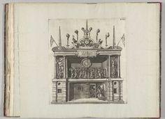 Anonymous | Toneel waarop Eendracht de Tweedracht opsluit in de gevangenis, 1582, Anonymous, Hans Vredeman de Vries, 1582 | Toneel bij het St.-Michielsklooster bij het paleis waarop boven een groep allegorische figuren en beneden de Eendracht die Tweedracht opsluit in de gevangenis. Plaat XVIII in de beschrijving van de intocht van de hertog van Anjou te Antwerpen, 19 februari 1582.