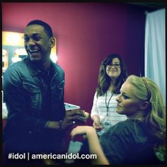 Joshua pretends to do Hollie's makeup before the Top 6 results show. #idol