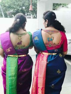Designer blouse designs with beautiful ideas for neck and back. Browse latest blouse models, saree, patterns online on Happy Shappy Wedding Saree Blouse Designs, Best Blouse Designs, Simple Blouse Designs, Silk Saree Blouse Designs, Blouse Neck Designs, Designer Sarees Wedding, Designer Gowns, Blouse Styles, Kanjivaram Sarees