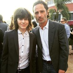 Father and son. They're so cute together. #AndrewLincoln @ChandlerRiggs  #TWDCastParty #SDCC