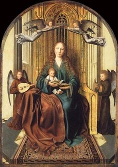Quentin Massys ~ Tronende Madonna met Kind en vier engelen ~ ca. ~ Olieverf op hout ~ x cm. ~ The National Gallery, Londen Medieval Paintings, Renaissance Paintings, Renaissance Art, Blessed Mother Mary, Blessed Virgin Mary, National Gallery, Google Art Project, Madonna And Child, Queen Of Heaven