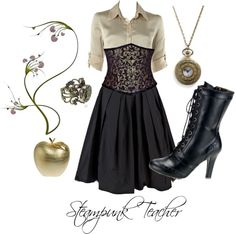 """""""Steampunk Teacher"""" by karalynnparsons ❤ liked on Polyvore"""