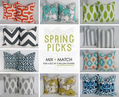 18x18 Spring Pillows- Set of 4 Decorative Pillow Covers - You Choose via Etsy