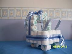 Carrinho de Fralda para decoração de Chá de Bebe