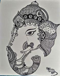 Kitten Drawing, Doodle Art Drawing, Mandala Drawing, Ganesha Drawing, Ganesha Art, Ganpati Drawing, Doodle Art Designs, Mehndi Art Designs, Rangoli Designs