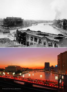 The Pasig River in 1945, with the damages from the Battle of Manila, and in 2011. Travel Around The World, Around The Worlds, President Of The Philippines, Baguio, Environmental Science, Manila, Stretching, Spanish, Philippines